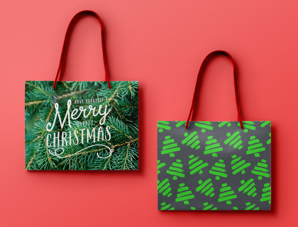 Scribbler Christmas Gift Bags / One with silver foil and the other using a spot for the neon green.