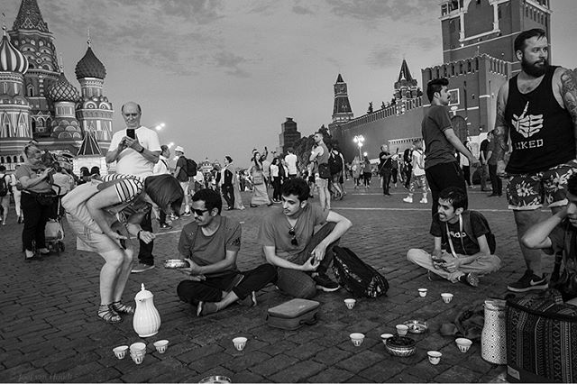Hopefully some of the free atmosphere of this World Cup rubbed off on daily life in Russia, though I'm not sure how soon we'll see some of these scenes again after the final later today. First picture: Saudi Arabia supporters drink coffee on Red Square and offer a Russian lady dates. (2, Sochi a few hours before the game. 3, Watching Russia - Croatia. 4 and 5 outside Luzhniki Stadium. 6, Belgium - Panama in Sochi. 7, Senegalese supporters outside the Bolshoi. 8, Red Square. 9, Police watching Russia - Croatia through a restaurant window. 10, French supporters in St. Petersburg after watching their team reach the Final. #russia #worldcup #worldcup2018