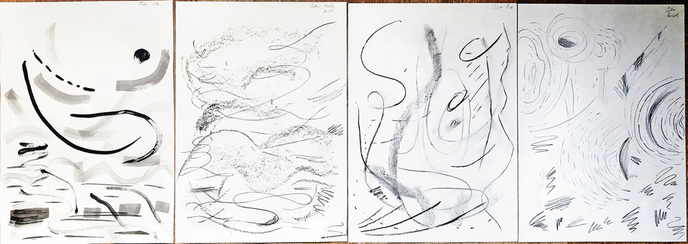 Figure 1: Calm. Materials used from left to right: ink, charcoal stick, charcoal vine, pencil.