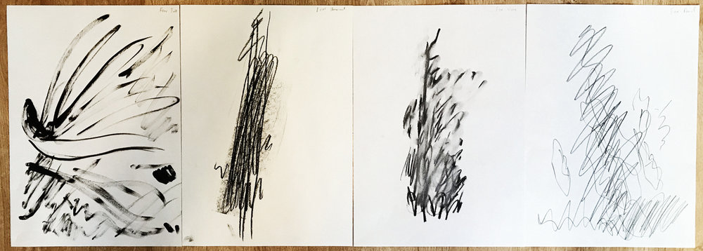 Figure 4: Fear. Materials used from left to right: ink, charcoal stick, charcoal vine, pencil.