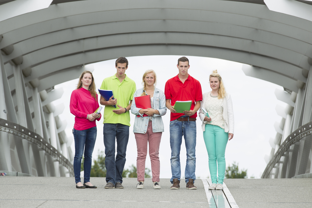 students on bridge
