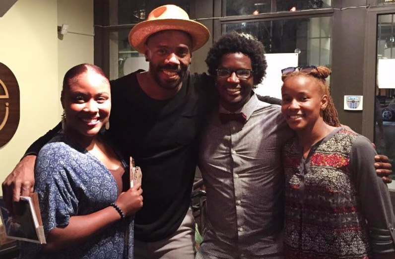 "Colman Domingo, Seven Guitars Director, with Roots & Wings members Vay Davis, Kiara Watts and Brandon ""Shatter"" Harrison."