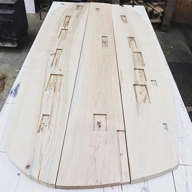 The opal table slowly making its journey from synapse to reality.  Hard maple slabs harvested and milled on the property.  #designbuild by #jakatelier #furnituredesign #creaturetable #dinningtable #woodworking