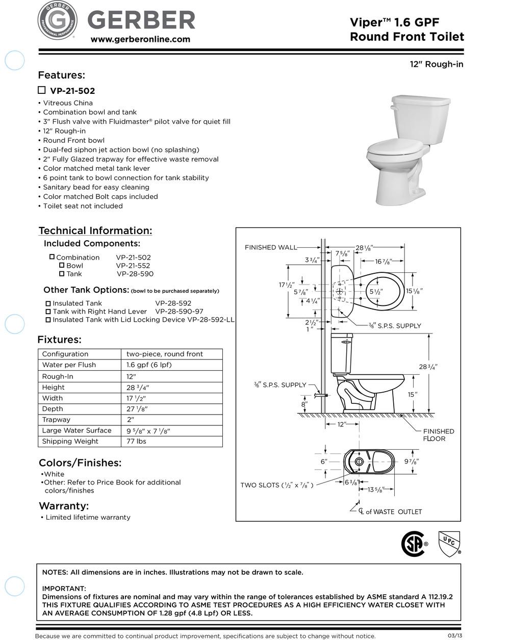 gerber viper toilets in ohio