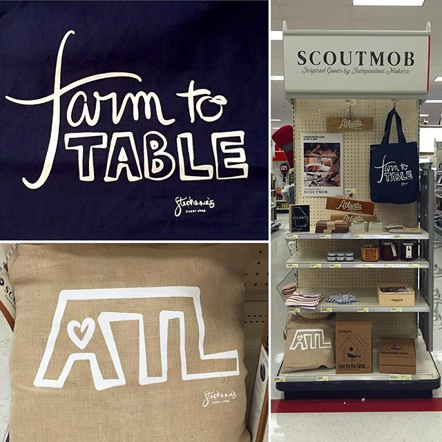 So excited to finally announce @scoutmob X @target featuring my ATL❤️ and Farm to Table totes, available at all Atlanta area Targets, and just in time for summer market/festival season! #makersgonnamake #shoplocal #f52grams