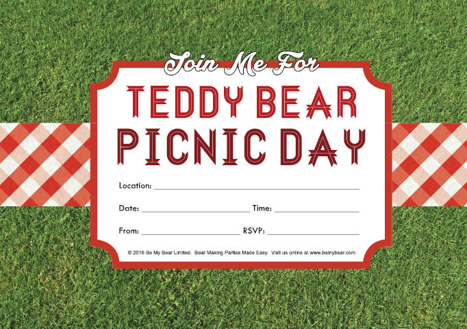 Click on the Teddy Bear Picnic Day Invitation image above to download your free printable pdf. (Adobe Acrobat is required to view this file)