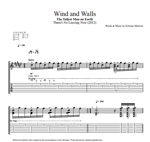 Wind And Walls By The Tallest Man On Earth Guitar Tab Chords
