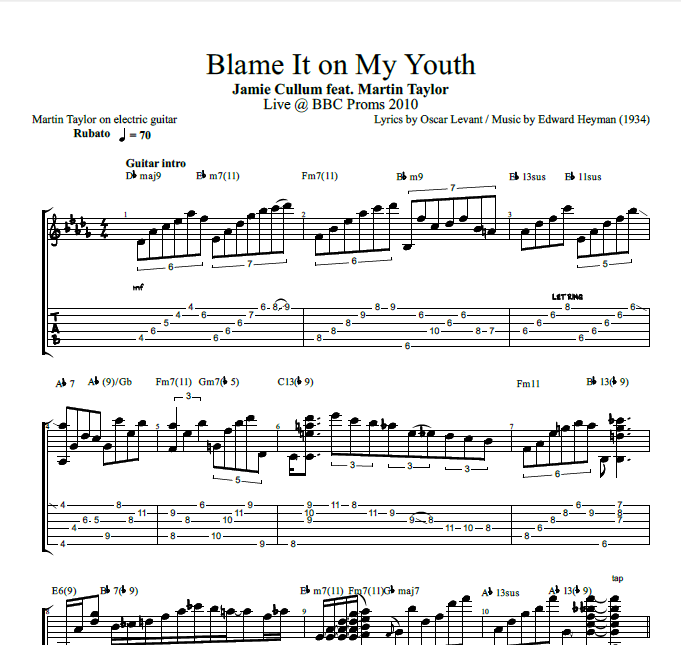 Blame It On My Youth By Jamie Cullum Feat Martin Taylor Guitar