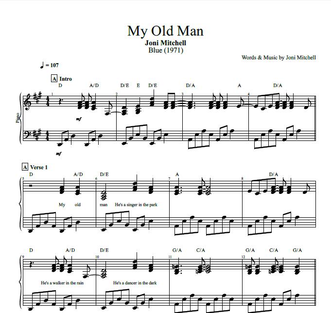 My Old Man By Joni Mitchell Piano Sheet Music Chords Lyrics