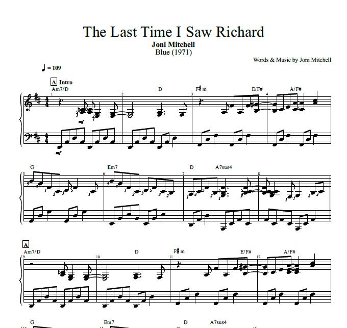 The Last Time I Saw Richard By Joni Mitchell Piano Sheet Music