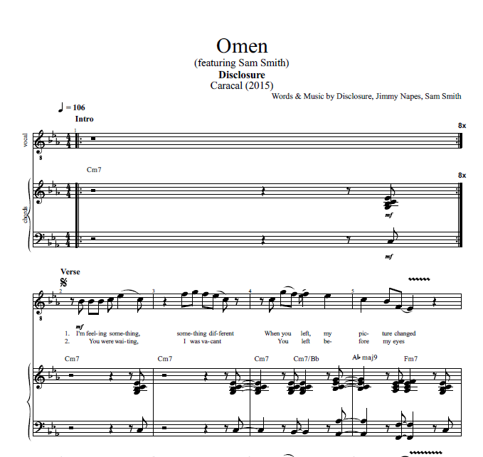 Omen By Disclosure Ft Sam Smith Piano Sheet Music Pnv
