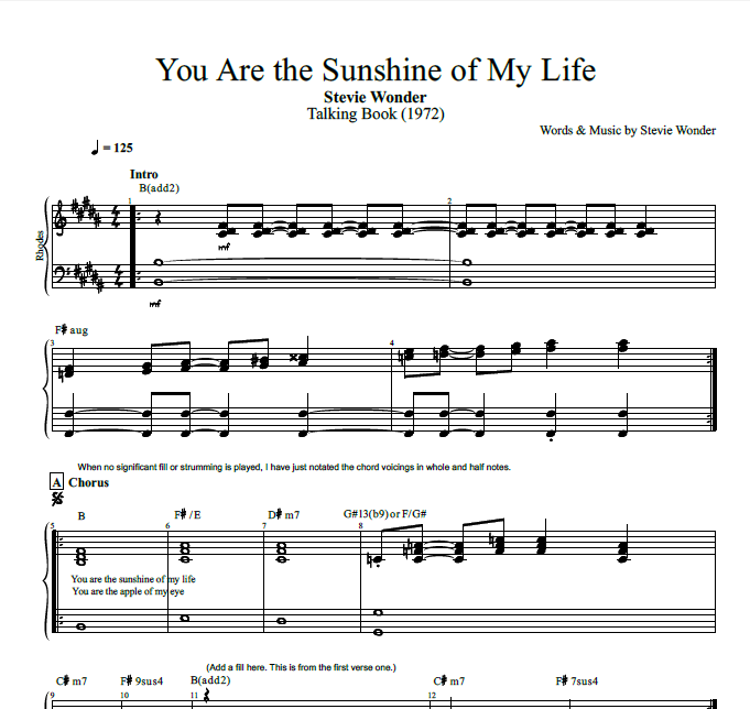 "Valerie Lyrics And Piano Notes: ""You Are The Sunshine Of My Life"" By Stevie Wonder"