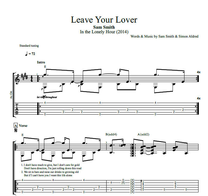 Leave Your Lover By Sam Smith Guitar Tab Chords Lyrics