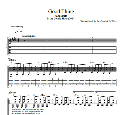 Good Thing By Sam Smith Guitar Tab Chords Sheet Music