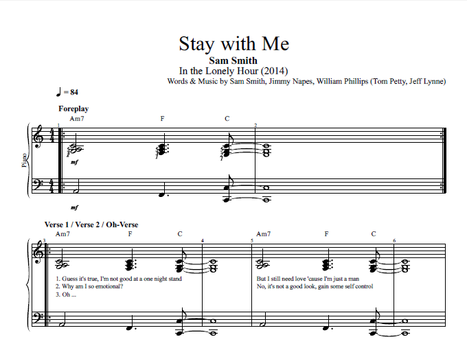 Stay With Me By Sam Smith Piano Sheet Music Chords Lyrics
