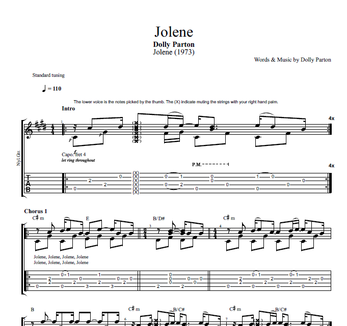 "Capotastomusic Free Sheet Music Scores Love This Blog: ""Jolene"" By Dolly Parton"