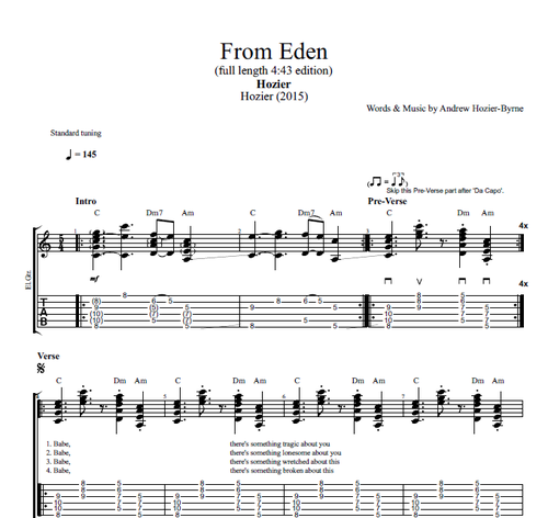 From Eden By Hozier Guitar Tabs Chords Lyrics Play Like