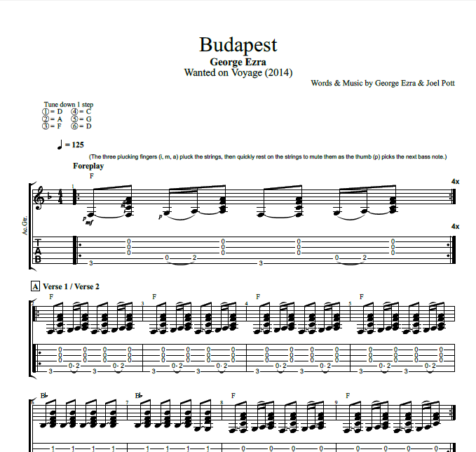 Budapest By George Ezra Guitar Bass Tabs Chords Lyrics