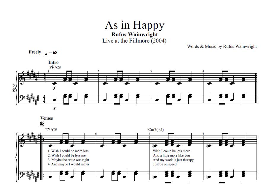 Print and download hallelujah sheet music by rufus wainwright