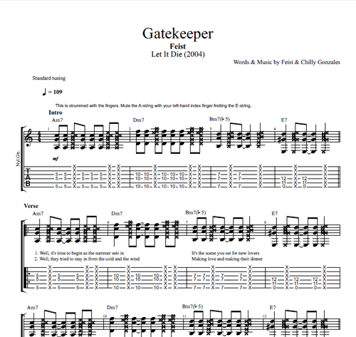 "Guitar bossa nova guitar tabs : Gatekeeper"" by Feist 