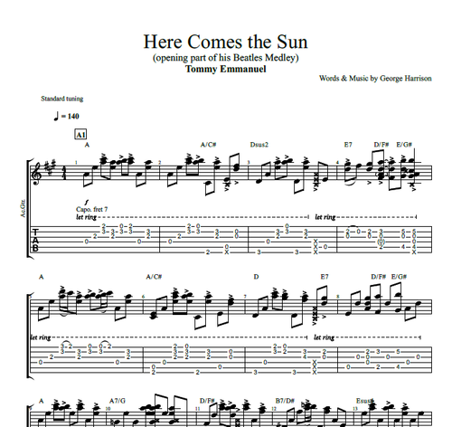 Here Comes The Sun By Tommy Emmanuel Guitar Tab Chords