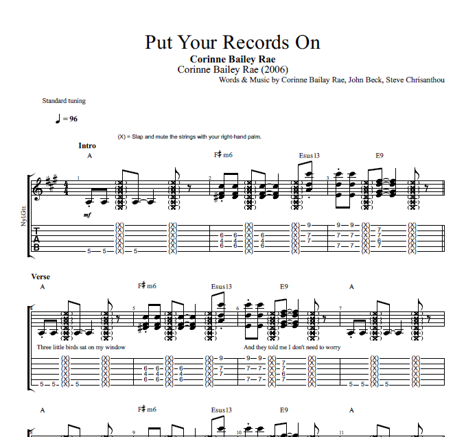 Put Your Records On By Corinne Bailey Rae Guitar Bass Tabs