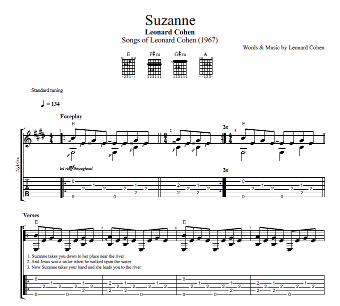 Suzanne By Leonard Cohen Guitar Tab Chords Sheet Music
