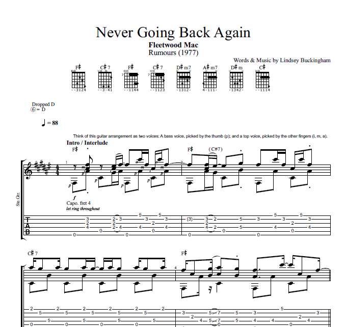 fleetwood mac guitar tabs never going back again