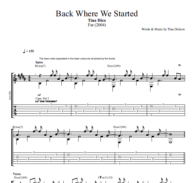 Back Where We Started By Tina Dico Guitar Piano Tabs Chords