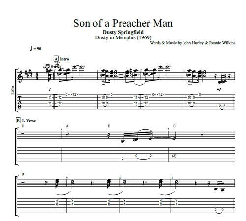 Son Of A Preacher Man By Dusty Springfield Bass Guitar Piano