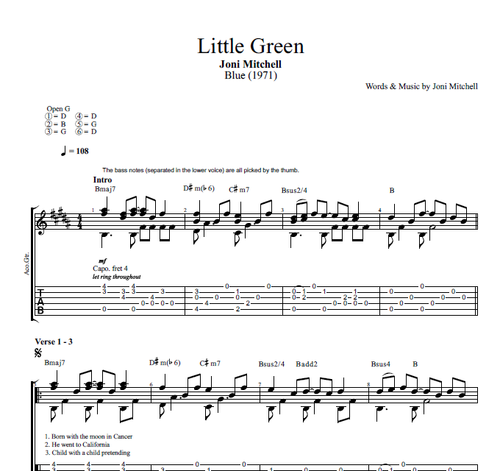 Little Green By Joni Mitchell Guitar Tab Chords Lyrics