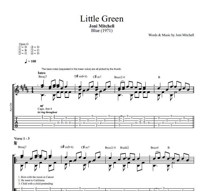 Little Green By Joni Mitchell Guitar Tab Chords Lyrics