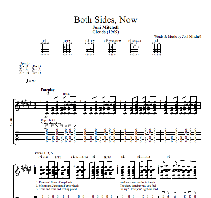 Both Sides Now By Joni Mitchell Guitar Tab Chords Sheet