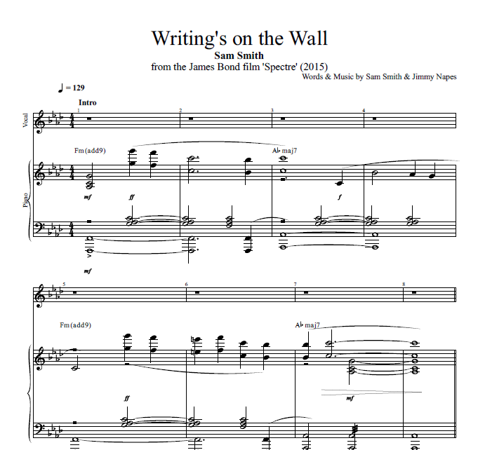 Writings On The Wall By Sam Smith Piano Sheet Musicscore Pnv