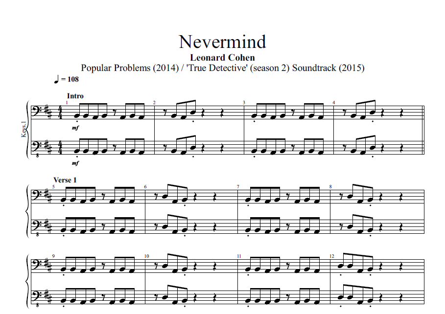 Nevermind By Leonard Cohen Piano Bass Sheet Music Chords