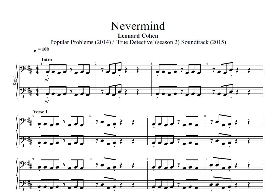 Piano piano tab sheet music : Nevermind