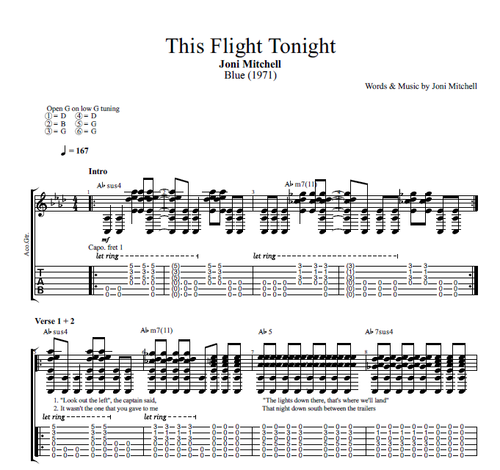 This Flight Tonight By Joni Mitchell Guitar Tabs Chords