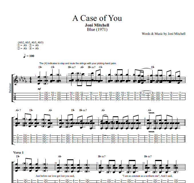 A Case Of You By Joni Mitchell Guitar Dulcimer Tabs Chords