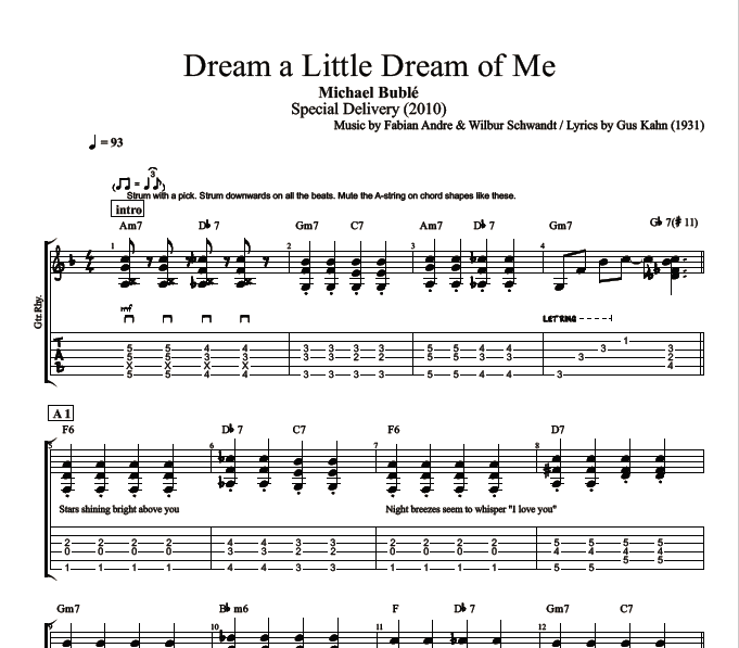 u0026quot;Dream a Little Dream of Meu0026quot; by Michael Buble :: Guitar: Tab + Chords + Sheet Music + Lyrics ...