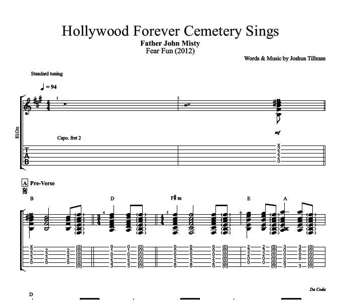 Hollywood Forever Cemetery Sings By Father John Misty Guitar