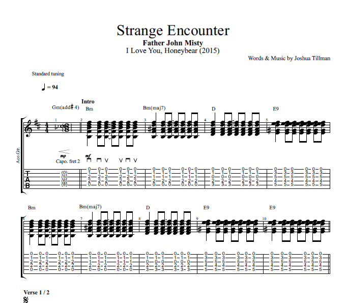 Strange Encounter By Father John Misty Guitar Bass Tabs