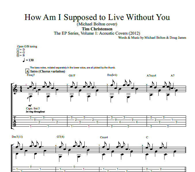 How Am I Supposed To Live Without You By Tim Christensen Guitar