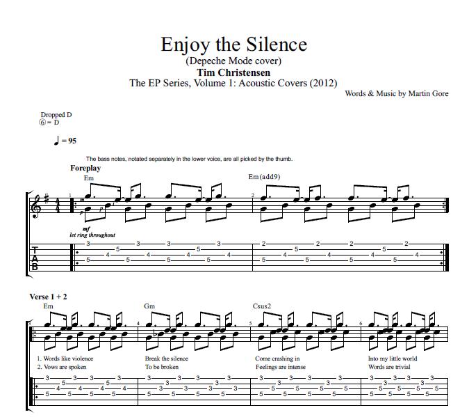 Enjoy The Silence By Tim Christensen Guitar Tab Chords