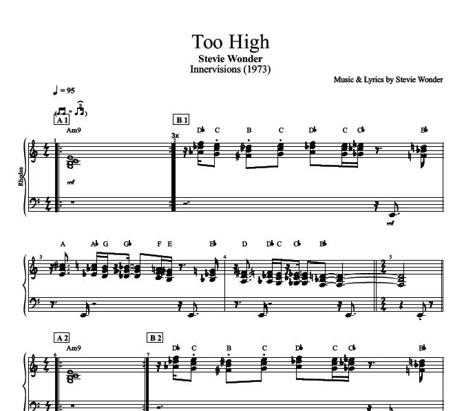 Too High By Stevie Wonder Piano Bass Sheet Music Chords