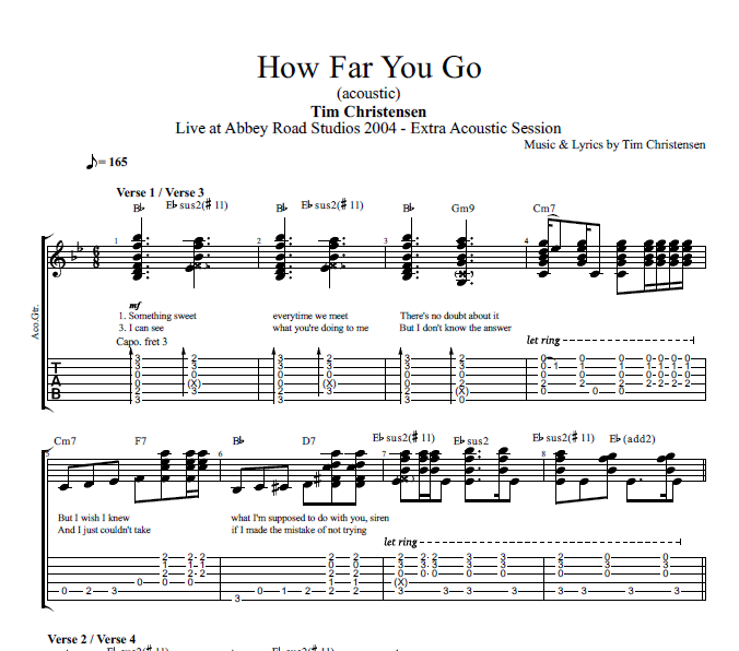 How Far You Go Acoustic By Tim Christensen Guitar Tab