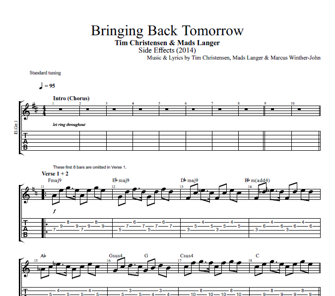 Bringing Back Tomorrow By Mads Langer Tim Christensen Guitar