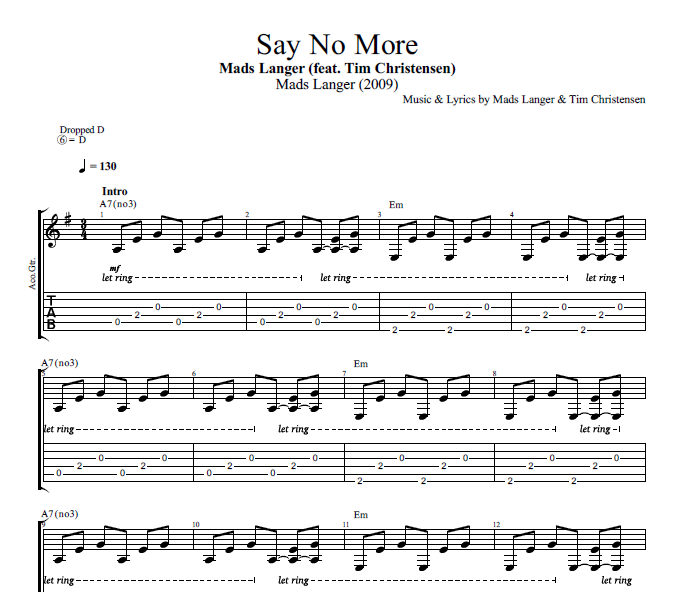 "Guitar guitar chords on sheet music : Say No More"" by Mads Langer (feat. Tim Christensen) 