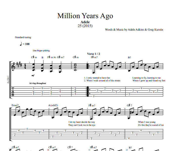 Million Years Ago By Adele Guitar Bass Tabs Sheet Music