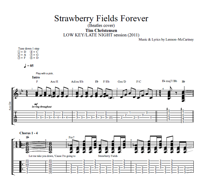 Strawberry Fields Forever By Tim Christensen Guitar Tab