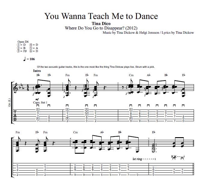 you wanna teach me to dance by tina dico guitar bass tabs chords lyrics play like. Black Bedroom Furniture Sets. Home Design Ideas